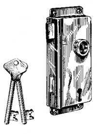 Große Kastenschlösser Messing mit Schlüssel