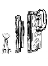 Kasten-Schiebetürschlösser Messing mit Schlüssel