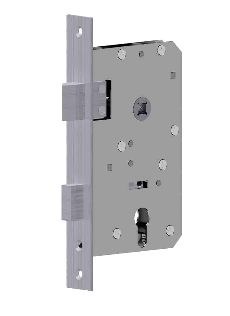 Mortise lock with wedge latch left hand Stainless Steel / GSV-Nr